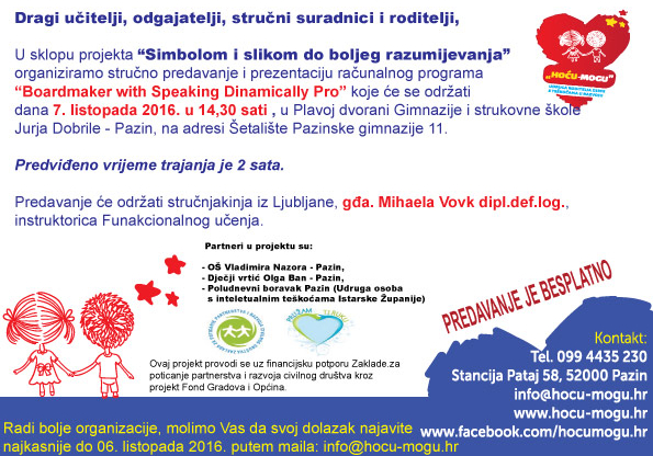 "Najava stručnog predavanja o programu ""Boardmaker with Speaking Dinamically Pro"""
